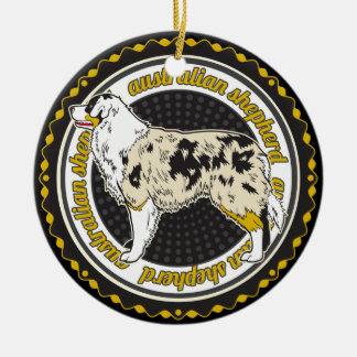 Pastor del australiano del amante del perro adorno navideño redondo de cerámica