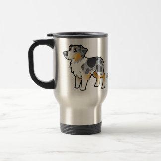 Pastor del australiano del dibujo animado taza térmica
