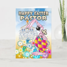 Pastor Easter Card - Easter Bunny Flowers Card