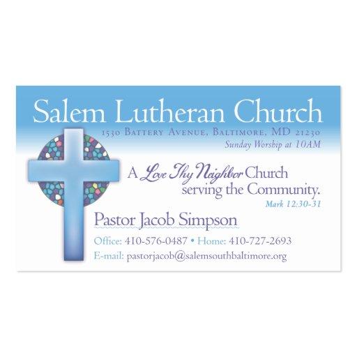 Pastor Jake Salem Lutheran Church Business Cards