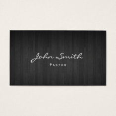 Pastor Minister Classy Dark Wood Church Business Card at Zazzle