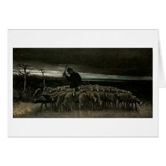 Pastor, multitud de la bella arte de Van Gogh de Tarjeta De Felicitación