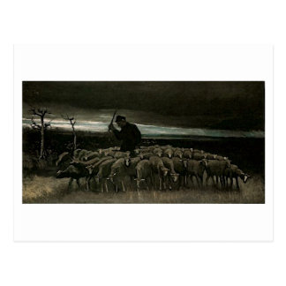 Pastor, multitud de la bella arte de Van Gogh de Tarjetas Postales