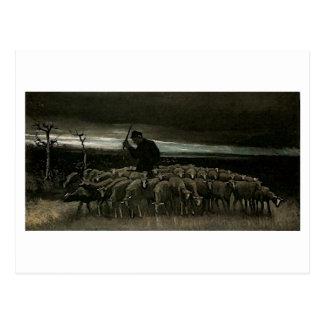 Pastor, multitud de las ovejas, Vincent van Gogh Tarjetas Postales
