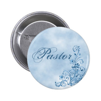 Pastor Round Button: Sky Blue Elegance Button