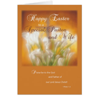 Pastor & Wife Happy Easter Lilies with Cross Card