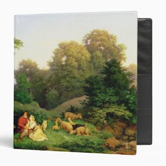 "Pastor y Shepherdess en un paisaje alemán Carpeta 1 1/2"""