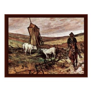 Pastor y vacas montados de Fattori Juan Postales