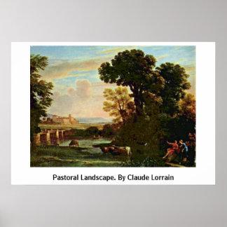 Pastoral Landscape. By Claude Lorrain Poster