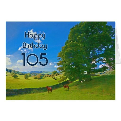 Pastoral landscape painting 105th Birthday card
