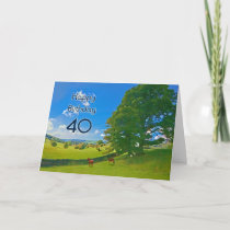 Pastoral landscape painting 40th Birthday card