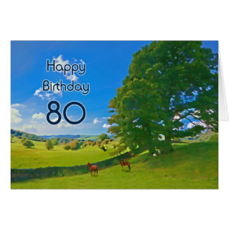 Pastoral landscape painting 80th Birthday card