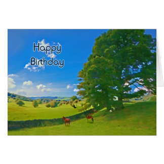 Pastoral landscape painting Birthday card