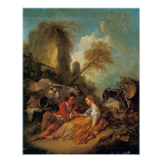 Pastoral Landscape with Shepherd and Shepherdess Poster