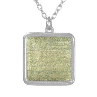 Pastoral (Rhythms) by Paul Klee Square Pendant Necklace