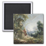 Pastoral Scene, or Young Shepherd in a Landscape 2 Inch Square Magnet