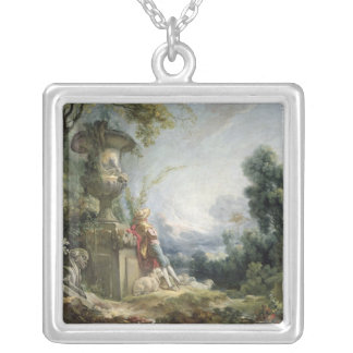 Pastoral Scene, or Young Shepherd in a Landscape Square Pendant Necklace