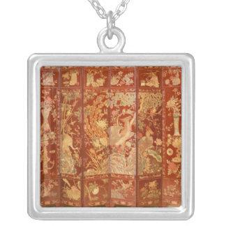 Pastoral scene, square pendant necklace