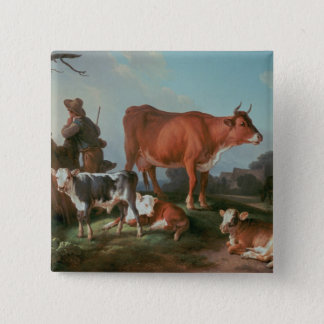 Pastoral scene with a cowherd button