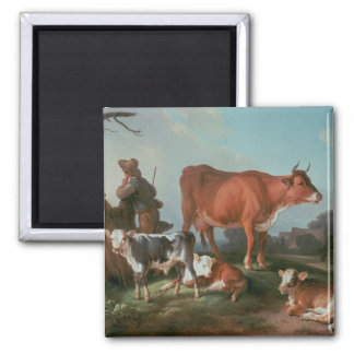 Pastoral scene with a cowherd magnet