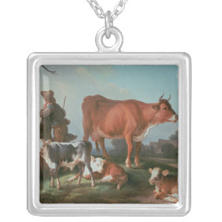 Pastoral scene with a cowherd square pendant necklace