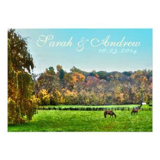 Pastoral Watercolor Equestrian Wedding Invitation