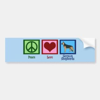 Pastores alemanes del amor de la paz pegatina para auto