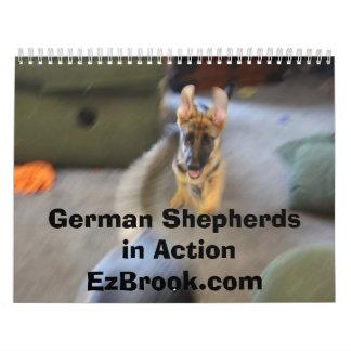 Pastores alemanes en la acción calendario