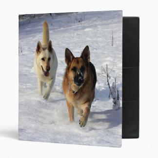 Pastores alemanes que corren en la nieve