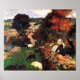 Pastores bretones de Eugène Enrique Paul Gauguin Póster