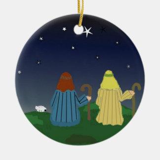 Pastores en los campos ornamento de navidad