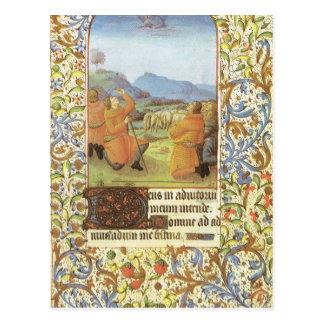 Pastores en una ladera de Belén medieval Tarjetas Postales