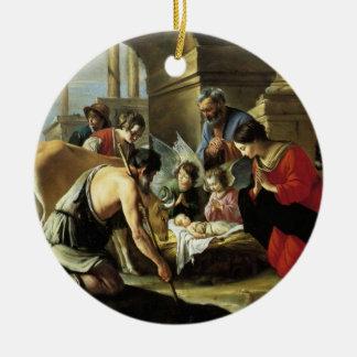 Pastores que adoran del siglo XVII Adorno Navideño Redondo De Cerámica