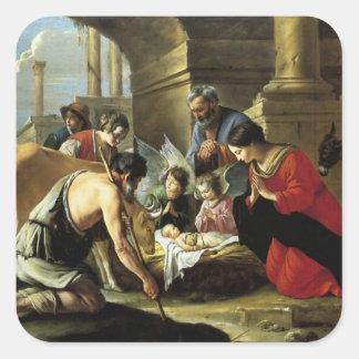 Pastores que adoran del siglo XVII Pegatina Cuadrada