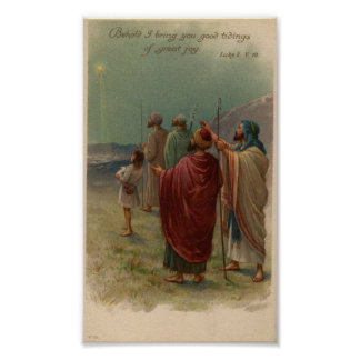 Pastores que miran sobre el poster del día de fies