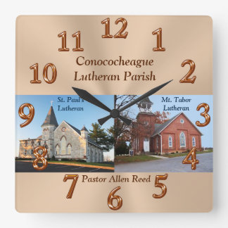 Pastors Appreciation Gifts with Photo and Text Square Wall Clocks