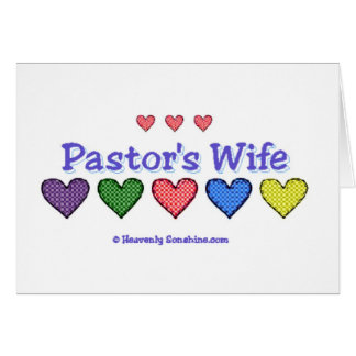 Pastor's Wife Gingham Hearts Greeting Card