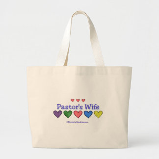 Pastor's Wife Gingham Hearts Large Tote Bag