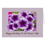 Pastor's Wife's Birthday Card with Petunias