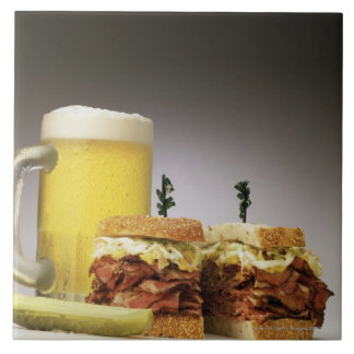 Pastrami on rue with beer ceramic tile