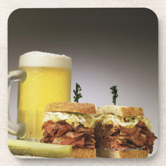 Pastrami on rue with beer drink coaster