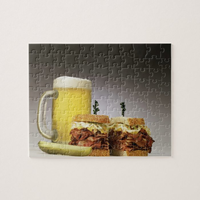 Pastrami on rue with beer jigsaw puzzle