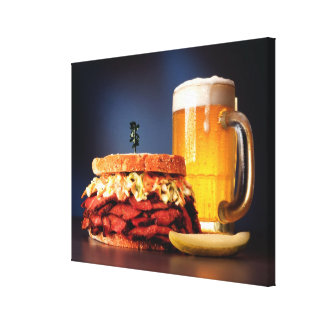 Pastrami sandwich with mug of beer canvas print
