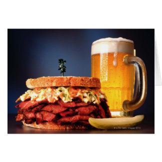 Pastrami sandwich with mug of beer greeting card
