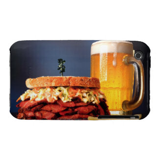 Pastrami sandwich with mug of beer Case-Mate iPhone 3 case
