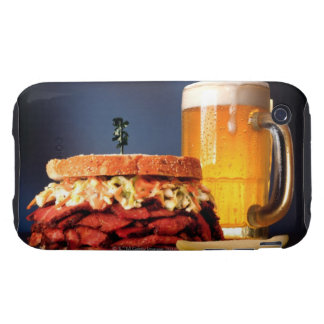 Pastrami sandwich with mug of beer tough iPhone 3 case
