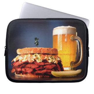 Pastrami sandwich with mug of beer computer sleeve