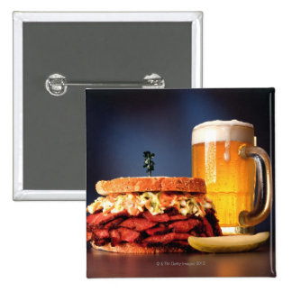 Pastrami sandwich with mug of beer pinback button