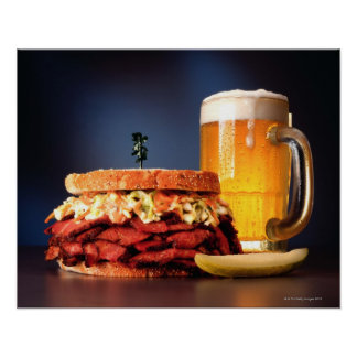 Pastrami sandwich with mug of beer poster