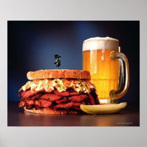 Pastrami sandwich with mug of beer print